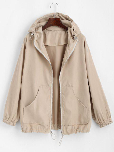 latest Hooded Front Pocket Drawstring Jacket - LIGHT COFFEE S Mobile
