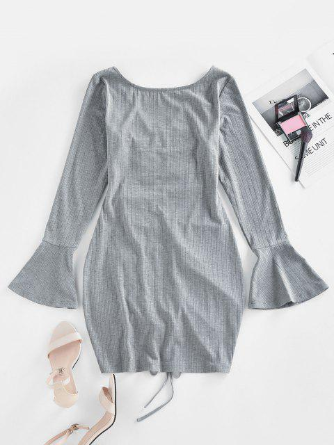 lady ZAFUL Ribbed Cinched Flare Sleeve Mini Dress - GRAY L Mobile
