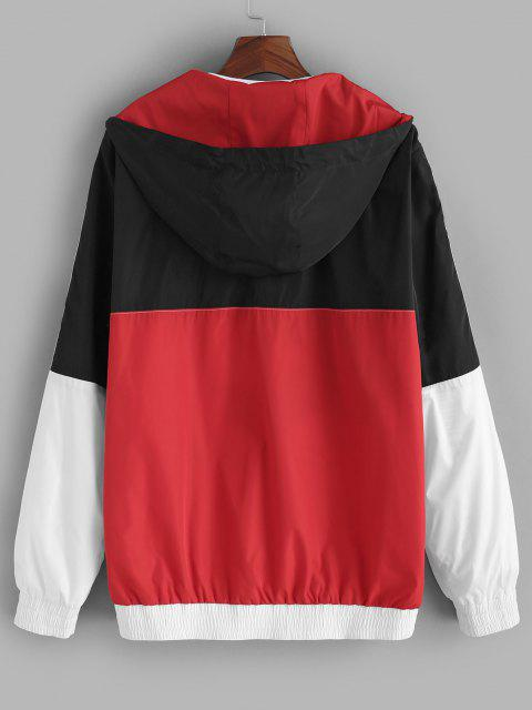 lady Colorblock Panel Letter Patch Hooded Jacket - MULTI L Mobile