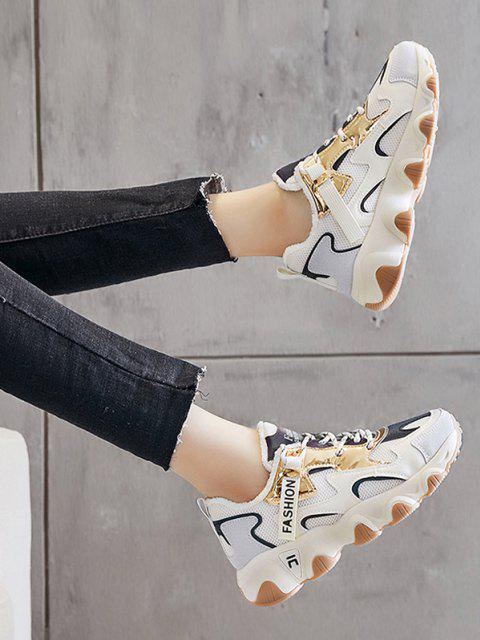 hot Colorblock Casual Fluffy Sports Sneakers - BEIGE EU 39 Mobile