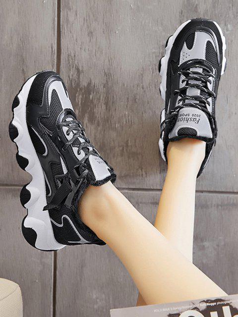 shops Colorblock Casual Fluffy Sports Sneakers - BLACK EU 39 Mobile