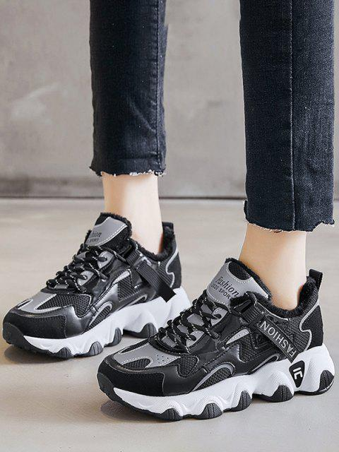 latest Colorblock Casual Fluffy Sports Sneakers - BLACK EU 40 Mobile