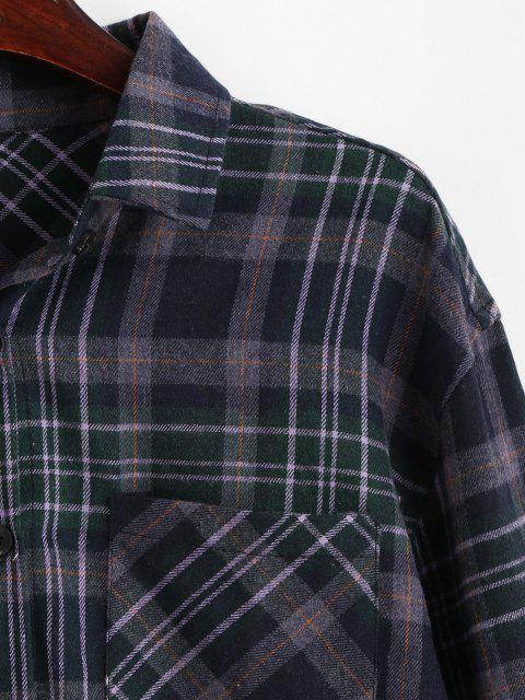 outfits Plaid Pocket Button Up Shirt - MIDNIGHT BLUE M Mobile