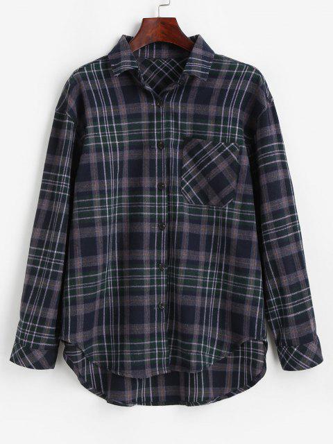 womens Plaid Pocket Button Up Shirt - MIDNIGHT BLUE L Mobile