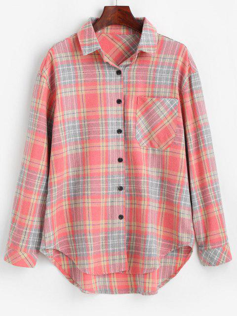 Plaid Pocket Button Up Shirt - البطيخ الوردي S Mobile
