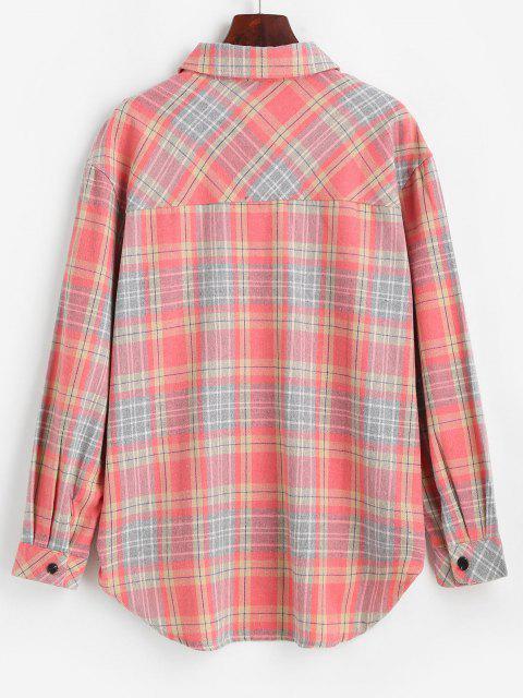 Chemise à Carreaux avec Poche et Boutons - Rose Pastèque L Mobile