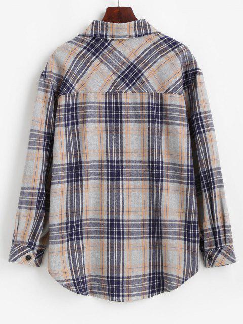 lady Plaid Pocket Button Up Shirt - LIGHT GRAY L Mobile