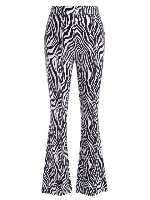 buy Zebra Print Flare Pants - BLACK S Mobile