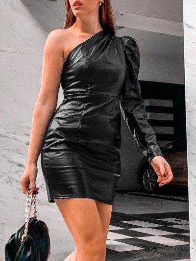 One Shoulder Faux Leather Gigot Sleeve Sheath Dress - Black M
