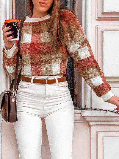 Contrast Plaid Loose Faux Fur Sweatshirt - Multi Xl