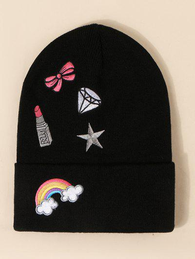Rainbow Bow Pattern Knit Hat - Black