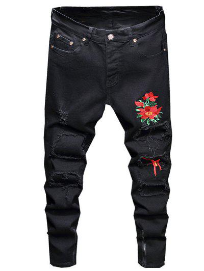 Patch Design Flower Embroidery Ripped Jeans - Black 36