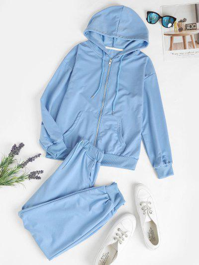 Zip Up Pockets Two Piece Sweat Suit - Light Blue M