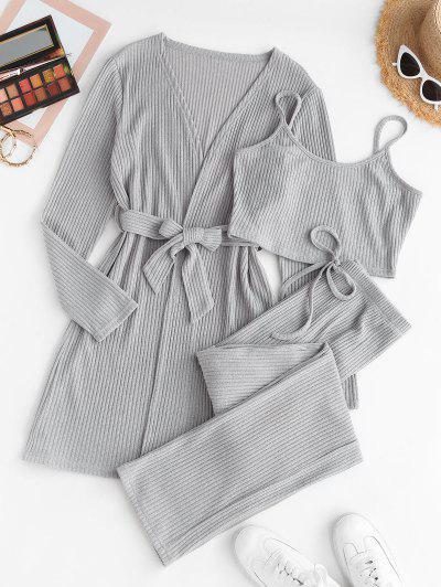 3PCS Marled Ribbed Knit Lounge Set - Gray S