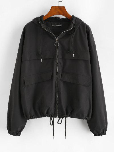 ZAFUL Hooded Full Zip Windbreaker Cargo Jacket - Black L