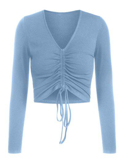ZAFUL Ribbed Cinched Fitted Plunging T-shirt - Blue L