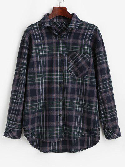 Plaid Pocket Button Up Shirt - Midnight Blue M