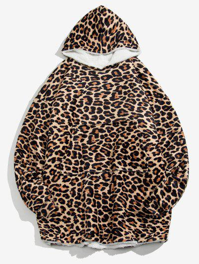 Leopard Print Fleece Blanket Hoodie - Leopard