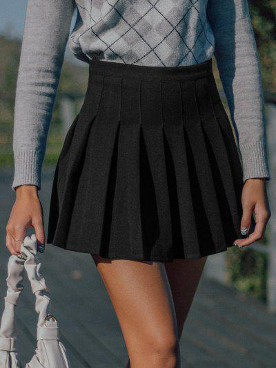 Knife Pleated A Line Mini Skirt - Black M