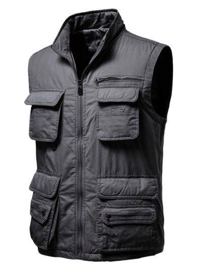 Zip Up Multi Pockets Padded Vest - Dark Gray 2xl