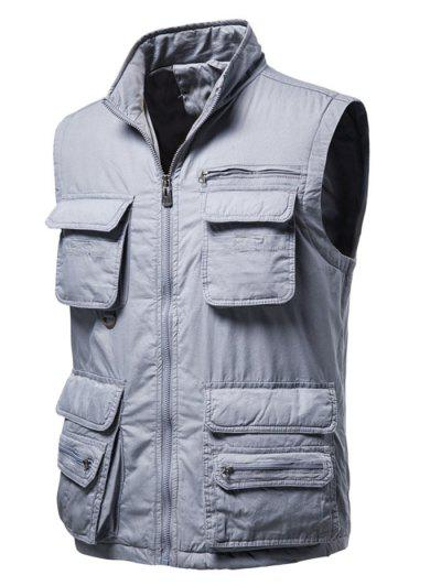 Zip Up Multi Pockets Padded Vest - Light Gray L