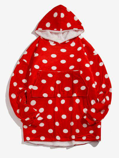 Polka Dot Print Fleece Blanket Hoodie - Red