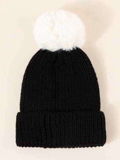 Fluffy Pompon Knitted Hat - Black