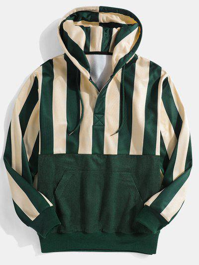 Striped Print Front Pocket Drawstring Hoodie - Deep Green M