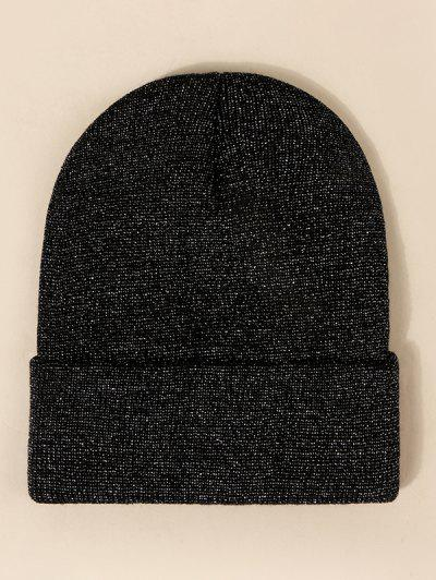 Glitter Silk Design Knit Hat - Black