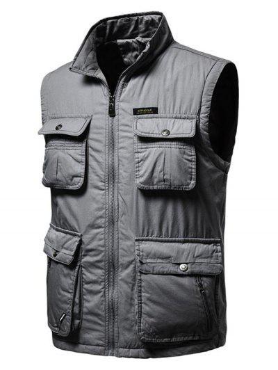 High Neck Zip Padded Pocket Cargo Waistcoat - Dark Gray L