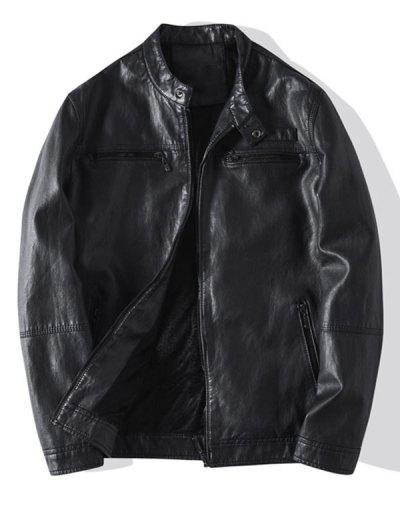 Zip Up Faux Leather Fleece Jacket - Black S