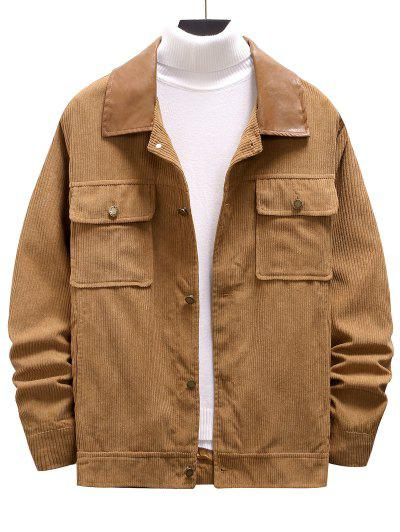Double Pockets Ribbed Corduroy Jacket - Camel Brown Xxl