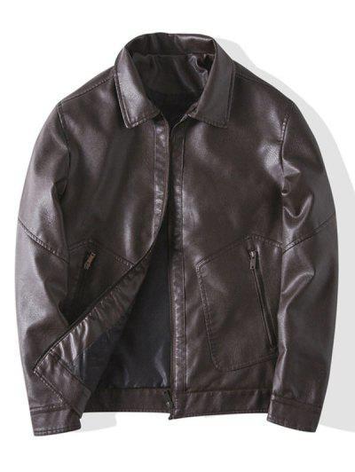 Faux Leather Zipper Pocket Jacket - Coffee M