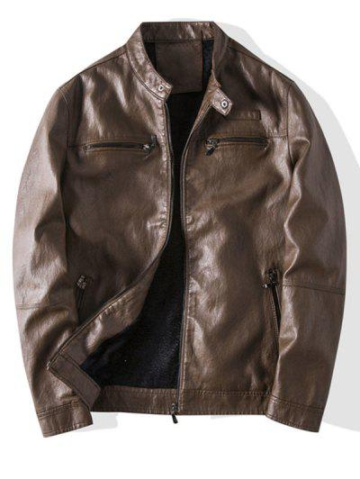 Zip Up Faux Leather Fleece Jacket - Brown S