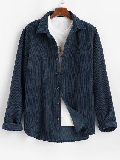 Einfarbiges Tasche Patch Kord Hemd - Tiefes Blau M