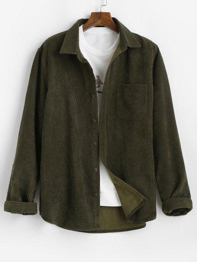 Plain Pocket Patch Corduroy Shirt - Army Green 2xl