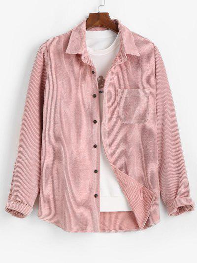 Einfarbiges Tasche Patch Kord Hemd - Hell-pink M