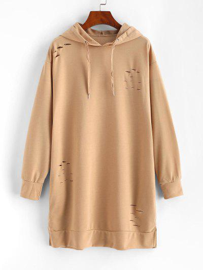 Ripped Slip Pocket Long Sleeve Hoodie Dress - Light Coffee M