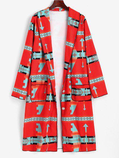 Shawl Collar Geo Pattern Longline Coat - Red L