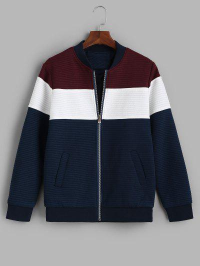 Zip Up Contrast Ribbed Jacket - Red Wine M