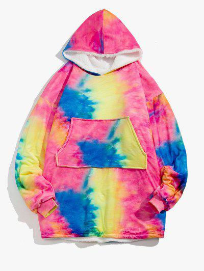Galaxy Tie Dye Print Fleece Blanket Hoodie - Fantastic