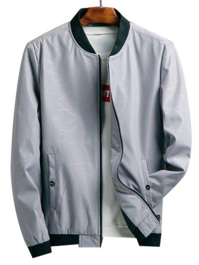 Zip Up Printed Pocket Elastic Hem Jacket - Light Gray S