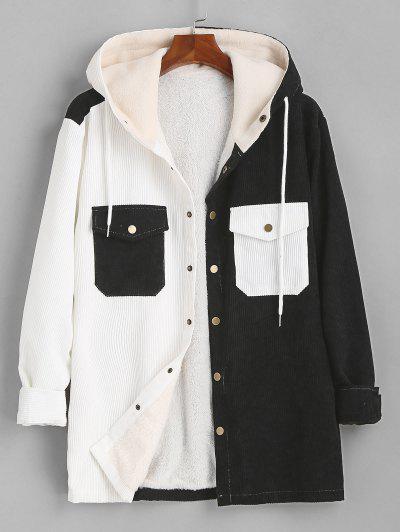 Hooded Double Pockets Contrast Fleece Corduroy Jacket - Black 2xl