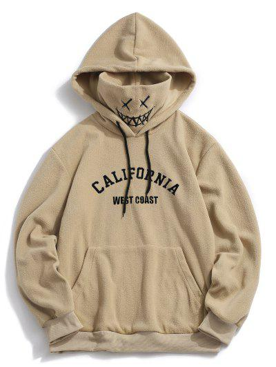 ZAFUL Letter Graphic Embroidered Fleece Mask Hoodie - Khaki M