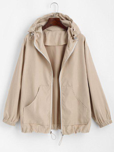 Hooded Front Pocket Drawstring Jacket - Light Coffee L