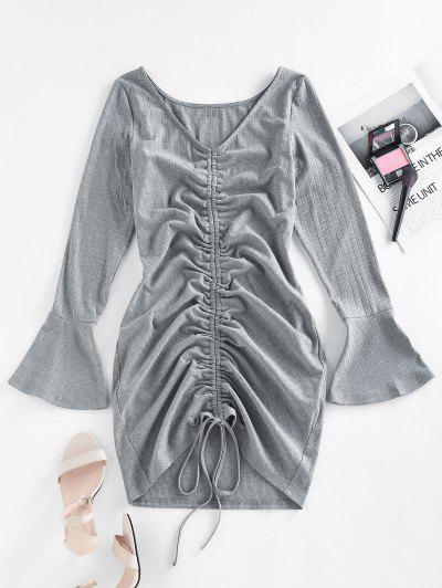 ZAFUL Ribbed Cinched Flare Sleeve Mini Dress - Gray M