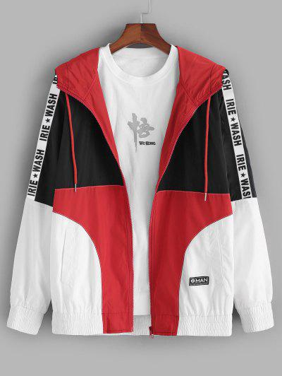 Colorblock Panel Letter Patch Hooded Jacket - Multi L