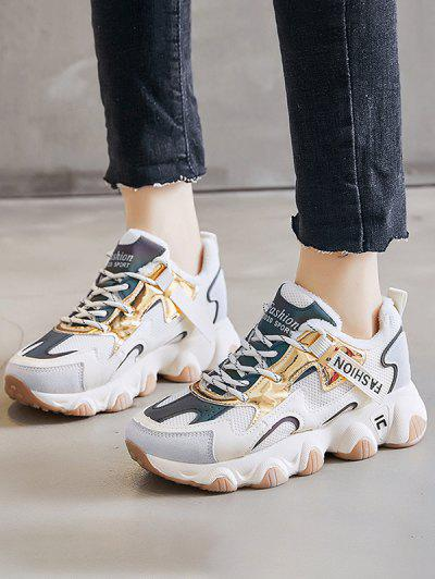 Colorblock Casual Fluffy Sports Sneakers - Beige Eu 38