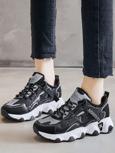 Colorblock Casual Fluffy Sports Sneakers - Black Eu 39