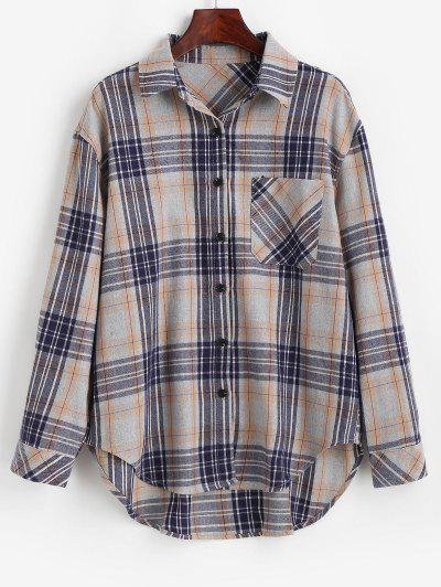Camisa Quadriculada Comprida De Abotoar Com Bolso - Cinza Claro M